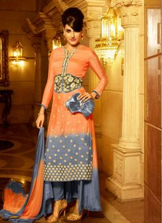 Party Grey and Orange Pant Style Salwar Suit
