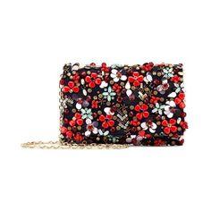 Oscar de la Renta Embroidered Satin-Twill Dede Bag (8103815 PYG) ❤ liked on Polyvore featuring bags, handbags, clutches, red, embroidered purse, oscar de la renta handbags, chain handbags, red handbags and satin handbags