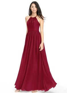 Shop Azazie Bridesmaid Dress - Azazie Justine in Chiffon. Find the perfect made-to-order bridesmaid dresses for your bridal party in your favorite color, style and fabric at Azazie. Red Bridesmaids, Burgundy Bridesmaid Dresses, Azazie Bridesmaid Dresses, Wedding Dresses, Bridesmaid Ideas, Prom Dresses, Bride Dresses, Wedding Attire, Bridal Gowns
