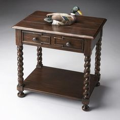 Side Table - Heritage - 3060070. Side Table - Heritage - 3060070 This Jacobean-inspired table is a beautiful accent in any rustic home. Crafted from gemelina solids and wood products, it features a distressed walnut finish with maple veneers on both the plan.. . See More Side Tables at http://www.ourgreatshop.com/Side-Tables-C689.aspx