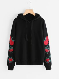SheIn offers Drop Shoulder Flower Embroidered Sleeve Hoodie & more to fit your fashionable needs. Girls Fashion Clothes, Teen Fashion Outfits, Mode Outfits, Outfits For Teens, Trendy Outfits, Tomboy Outfits, Punk Fashion, Lolita Fashion, Fashion Dresses