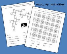 MLK Word Search and Crossword - - Pinned by @PediaStaff – Please visit http://ht.ly/63sNt for all (hundreds of) our pediatric therapy pins