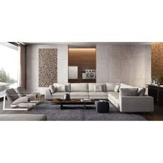 With generous seating and sleek modern style, the Modloft Perry 2 Arm Large Corner Sectional Sofa w Ottoman takes your contemporary living room. Luxury Home Decor, Luxury Homes, Living Room Modern, Living Room Designs, Plywood Furniture, Corner Sectional Sofa, Couch, Living Room Furniture, House Design