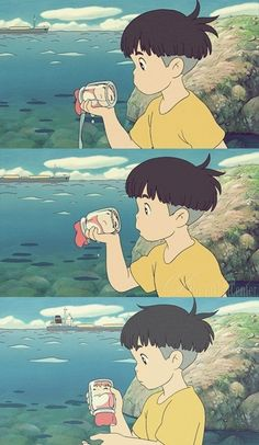 Ponyo. This scene made me laugh really hard for some reason.  I don't know why, it was just... weirdly cute and odd that she was stuck in a glass jar like that.
