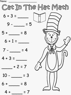 Free: Cat In The Hat Math based on the story by Dr. For educational purposes only. 3 Levels Of Addition and Subtraction. Regina Davis aka Queen Chaos at Fairy Tales And Fiction By Dr. Seuss, Dr Seuss Week, Dr Seuss Activities, Preschool Worksheets, Sequencing Activities, Alphabet Worksheets, Printable Worksheets, Writing Activities, Math Resources