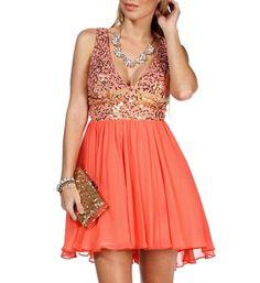 Pre-Order: Janine- Gold/Coral Sequin Short Dress