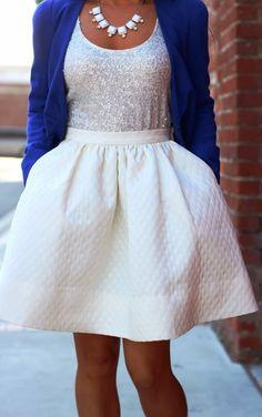 Lovely flare skirt, sequin tank and cobalt blue combo