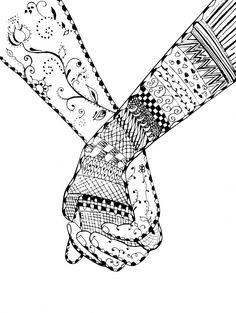 Couple Holding Hands Coloring Pages