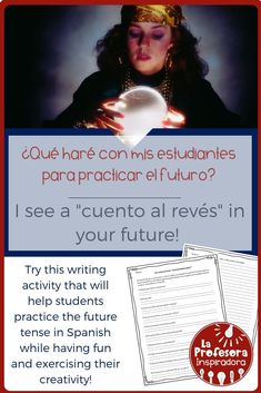 """Practice the future tense in Spanish with this twist on a traditional classroom activity! The """"Cuento al revés"""" worksheet is structured like reading comprehension questions, but is actually a creative writing activity that also reinforces key grammatical Spanish Lesson Plans, Spanish Lessons, Teaching Spanish, Spanish Grammar, Spanish Vocabulary, Spanish Classroom, Vocabulary Activities, Writing Activities, Classroom Activities"""