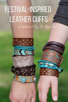 Festival Inspired Leather Jewelry - Bohemian Wood Burned Cuffs and Bracelets - Make these DIY leather cuffs and bracelets using pyrography, paint and beads. #michaelsmakers
