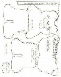 Bear Pattern for Felt Angel Bear Pocket. On site instructions and materials needed. Teddy Bear Patterns Free, Teddy Bear Sewing Pattern, Angel Bear, Felt Angel, Felt Crafts Patterns, Felt Templates, Sewing Toys, Stuffed Animal Patterns, Felt Ornaments