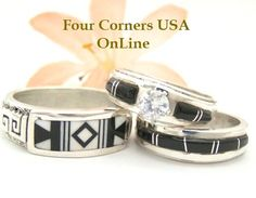 These Black and White Wedding Band Bridal Rings make an awesomely unique statement either for your Black White Wedding Theme or Alternative ... http://stores.fourcornersusaonline.com/news/black-white-wedding/