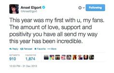 Pin for Later: 9 Reasons You Need to Start Crushing on Ansel Elgort 9. He's Thankful For His Fans!