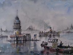 Işıl Özışık Istanbul, Watercolor Artists, Watercolour, Painting, Middle East, Turkey, Scenery, Watercolors, Pen And Wash