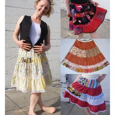 $86 the Patch Stripe Petticoat -  - by AC Clothing and Bags - in original vintage cotton prints and laces - made to order
