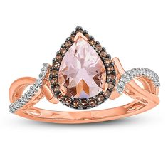 9a1695933bf3 Womens Genuine Pink Morganite 10K Gold Cocktail Ring Easy Cocktails