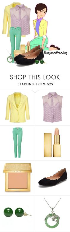 """""""Lumpalinda Mulan"""" by thequeenofreading ❤ liked on Polyvore featuring Tiger of Sweden, Goldie, Current/Elliott, AERIN and Atwell"""