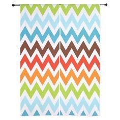 Summery rainbow Chevron Curtains on CafePress.com