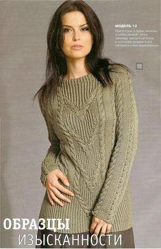 Стильный пуловер оливкового цвета