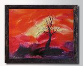 Rolled Canvas Print  Landscape Sunset   Pink Red Abstract art Modern Contemporary Home decor