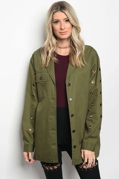 Ladies fashion long sleeve utility jack that features grommet details and a collard neckline