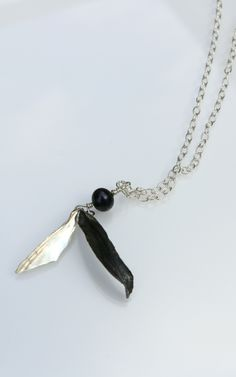 Hammered sterling silver double leaf and peacock pearl necklace