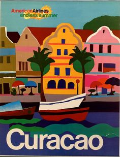 Curacao Travel Poster, via American Airlines Retro Poster, Poster Ads, Vintage Travel Posters, Vintage Advertisements, Vintage Ads, Vintage Airline, Party Vintage, Tourism Poster, Kunst Poster