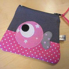 Porte-monnaie petit poisson rose et gris