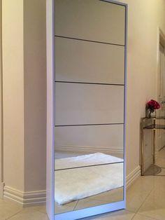 Full Length Mirror Shoe Cabinet Rack Storage 5 Drawers 25 Kids  15 Adult  Pairs Part 49