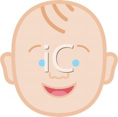 Royalty Free Clipart Image of a Happy Baby Boy's Face
