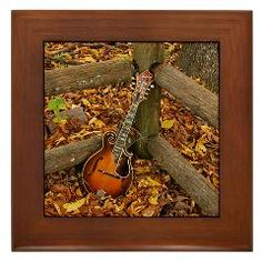 Ibanez Mandolin Leaning On Fence Framed Tile ($9.99)