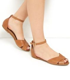 Wide Fit Tan Leather Peep Toe Sandals - Wide Sandals - Shoe Gallery   New Look