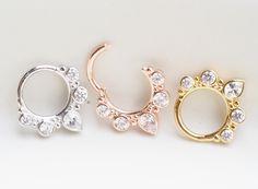 Inspiration Dezigns Bendable Twist Hoop Ring Classic Gem Septum//Earring//Daith 18G