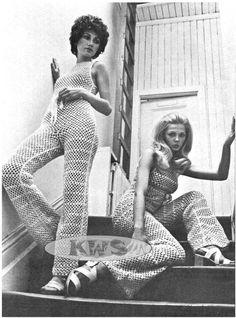 "Vintage Hippie 70s Crochet ""JUMPSUIT"" Halter Top  Bell Bottom Pants Style - PDF Pattern - UK"