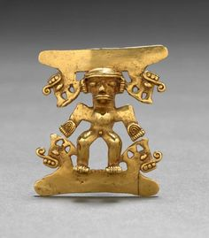 Figurine Pendant, c. Western Panama, Veraguas-Gran Chiriquí Style, Century cast and hammered gold Royal Diamond, Bohemia Jewelry, Mesoamerican, Inca, Ancient Jewelry, Gold Art, Ancient Artifacts, Ancient Civilizations, Way Of Life