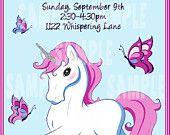 enchanted unicorn | Enchanted Unicorn Birthday Party Invitation - (jpeg file)