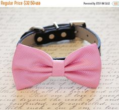 Pink Dog Bow tie Pink bow attached to dog collar by LADogStore