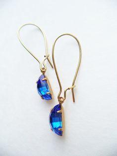 Vintage Earrings Half Moon Glass Dangles by SPARKLESandSASS