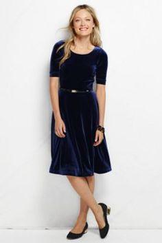 Women s elbow sleeve boatneck velvet dress from lands end
