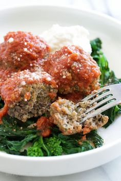 Oh my word, these Slow Cooker Broccoli Rabe Meatballs are SO good!! I love broccoli rabe and thought it would be awesome in my Sunday meatballs, and I was right! These meatballs are tender and flavorful, conveniently made in the slow cooker so you can have them any night of the week. #BroccoliRabe