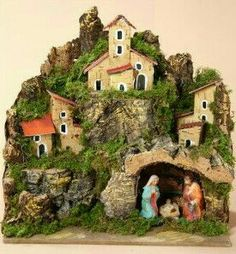 *** Christmas In Italy, Christmas Tea, Christmas Design, Handmade Christmas, Christmas Crafts, Christmas Nativity Scene, Christmas Villages, Clay Houses, Christmas Decorations For The Home