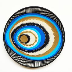 Decorative Plate - Blue Wall Decor - Original hand-painted Artwork - Wall Hanging - Blue Evil Eye Decor - Golden and Blue - Mandala Decor by biancafreitas on Etsy