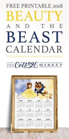 Free Printable 2018 Beauty and the Beast Calendar