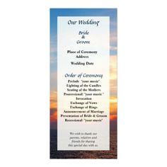 Sunrise at Sea Wedding Program by Susan Savad -- Tropical wedding program that you can customized yourself.  #wedding  #weddingprogram #customize #sunrise #dawn #caribbean   $0.55  per card   BULK PRICING AVAILABLE!