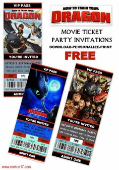 Free Printable Movie Ticket Style Invitations: How to Train Your Dragon