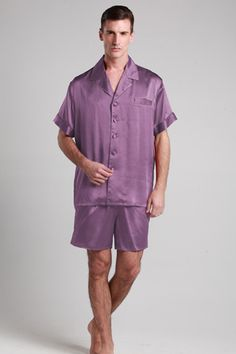Top quality violet color silk mens pajamas are for sale now, which is made of 19 momme mulberry silk with custom plus size. #pajamas #silk #lilysilk