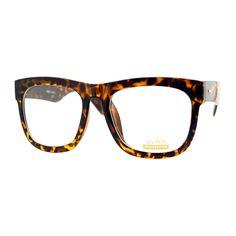 ba96357dbf9f98 Tortoise Oversized Wayfarer Square Glasses Thick Horn Rim Clear Lens Frame  Round Face Sunglasses, Sunglasses