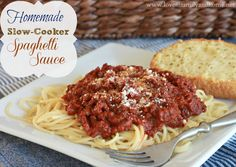Easy crock pot spaghetti sauce. This is a great recipe to use as a starting point to make your own sauce with no sugar or other additives.