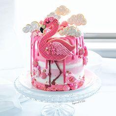 Pink and white flamingo drip cake