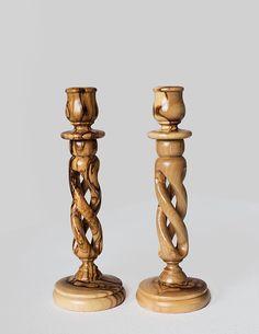 Antiques Genteel Antique Victorian Oak Wood Candlesticks